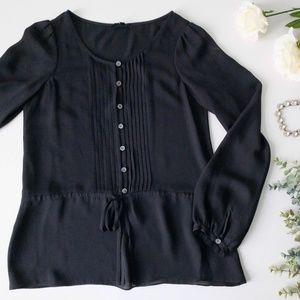 Theory Silk Black Pintucked Button Down Blouse